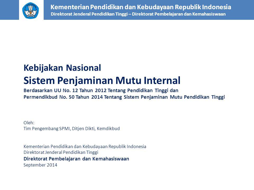SPMI (1) Fokus bahasan: Kementerian Pendidikan dan Kebudayaan Republik Indonesia Direktorat Jenderal Pendidikan Tinggi – Direktorat Pembelajaran dan Kemahasiswaan Sistem Penjaminan Mutu Internal (SPMI) Sistem Penjaminan Mutu Internal (SPMI) Pangkalan Data Pendidikan Tinggi (PD Dikti) Pangkalan Data Pendidikan Tinggi (PD Dikti) Sistem Penjaminan Mutu Eksternal (SPME) Sistem Penjaminan Mutu Eksternal (SPME) SPM Dikti M MUTU M MUTU