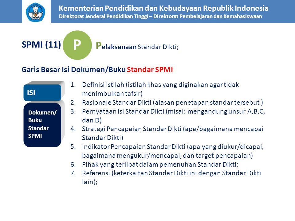 Kementerian Pendidikan dan Kebudayaan Republik Indonesia Direktorat Jenderal Pendidikan Tinggi – Direktorat Pembelajaran dan Kemahasiswaan SPMI (11) P