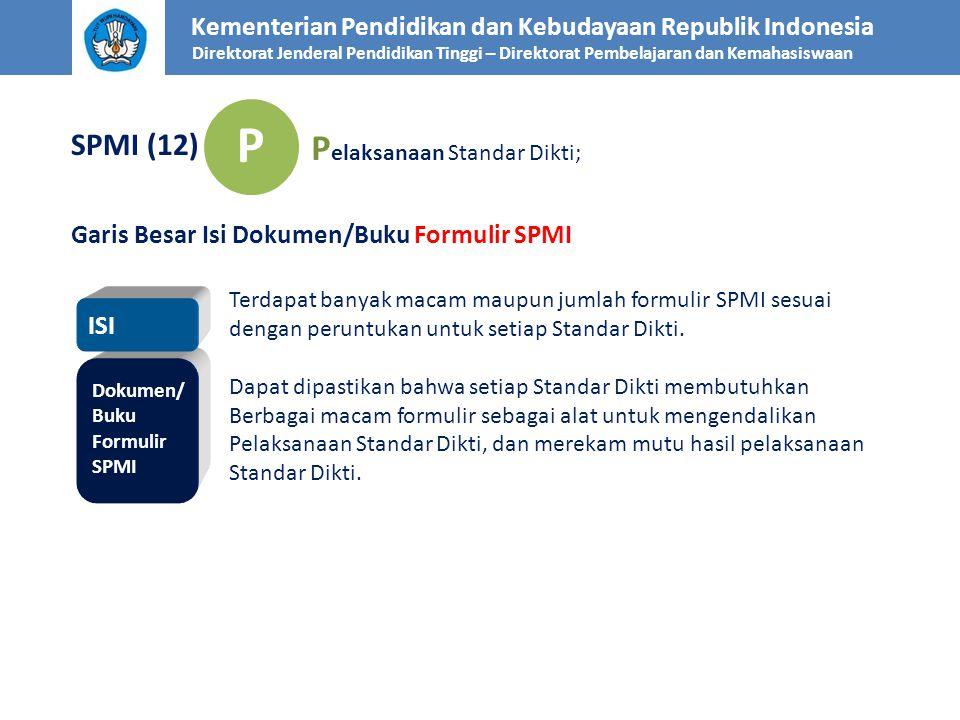 Kementerian Pendidikan dan Kebudayaan Republik Indonesia Direktorat Jenderal Pendidikan Tinggi – Direktorat Pembelajaran dan Kemahasiswaan SPMI (12) P