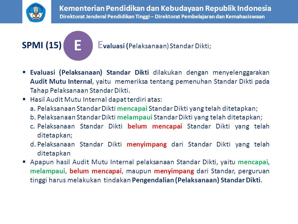 Kementerian Pendidikan dan Kebudayaan Republik Indonesia Direktorat Jenderal Pendidikan Tinggi – Direktorat Pembelajaran dan Kemahasiswaan SPMI (15) E