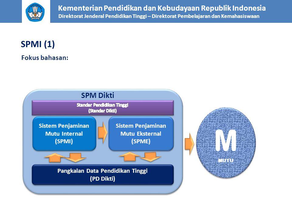 SPMI (1) Fokus bahasan: Kementerian Pendidikan dan Kebudayaan Republik Indonesia Direktorat Jenderal Pendidikan Tinggi – Direktorat Pembelajaran dan K