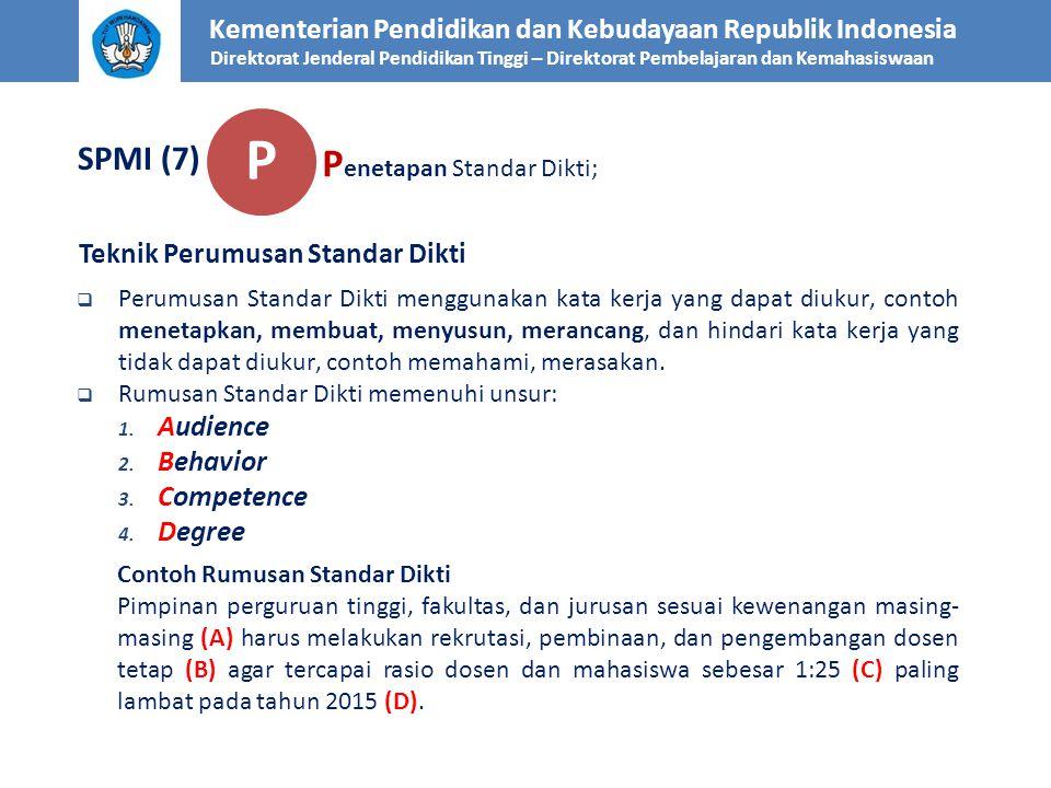 Kementerian Pendidikan dan Kebudayaan Republik Indonesia Direktorat Jenderal Pendidikan Tinggi – Direktorat Pembelajaran dan Kemahasiswaan SPMI (7) Te