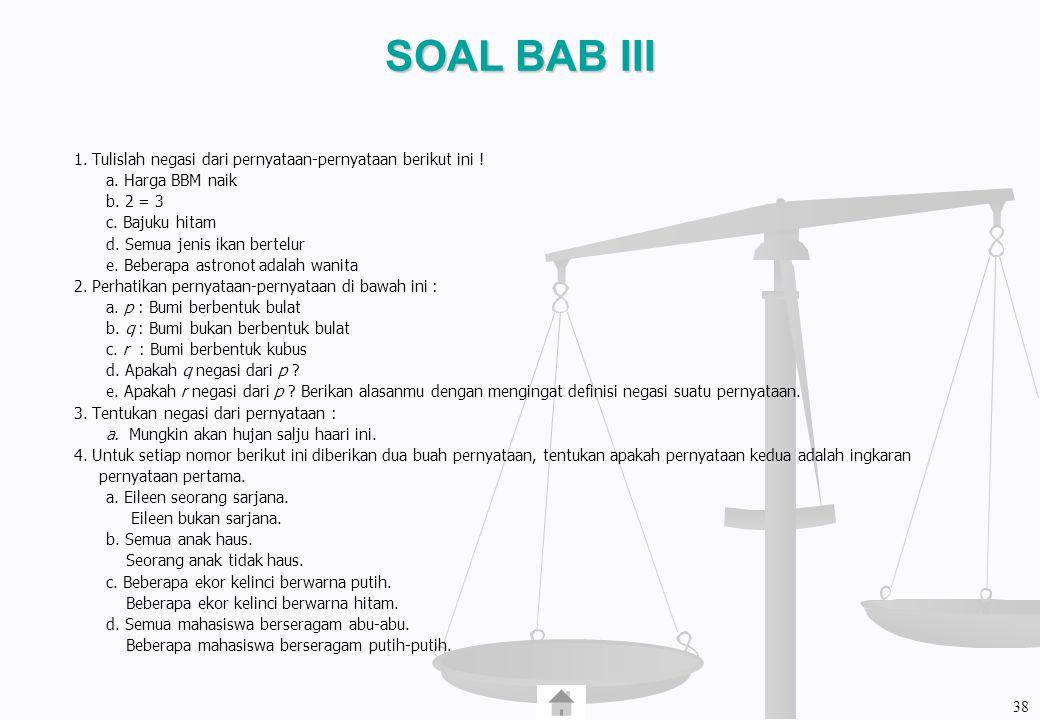 SOAL BAB III 1. Tulislah negasi dari pernyataan-pernyataan berikut ini ! a. Harga BBM naik b. 2 = 3 c. Bajuku hitam d. Semua jenis ikan bertelur e. Be