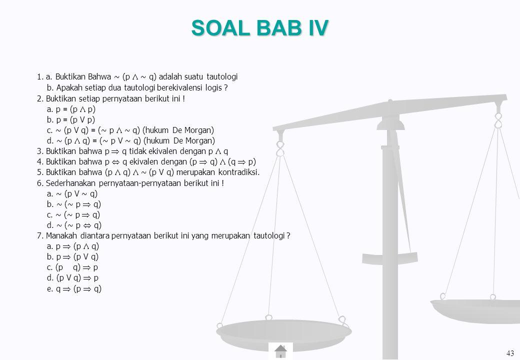 SOAL BAB IV 1. a. Buktikan Bahwa ~ (p  ~ q) adalah suatu tautologi b. Apakah setiap dua tautologi berekivalensi logis ? 2. Buktikan setiap pernyataan
