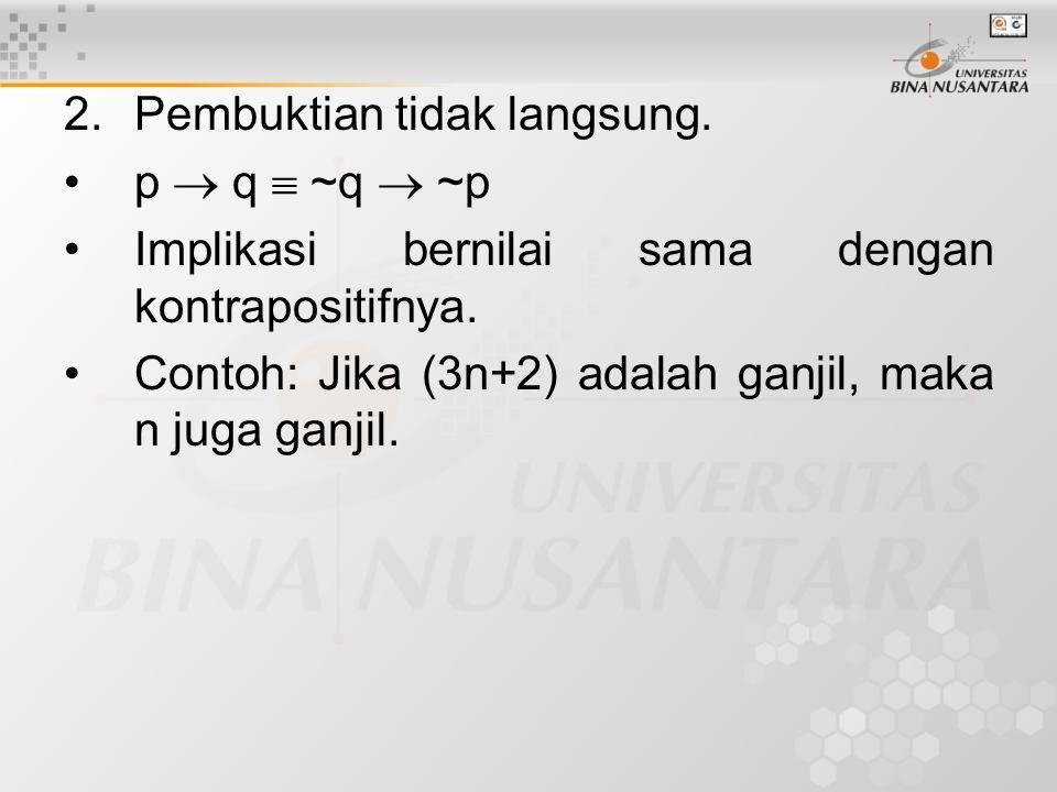 3.Vacuous Proof p  q selalu benar jika p bernilai salah.