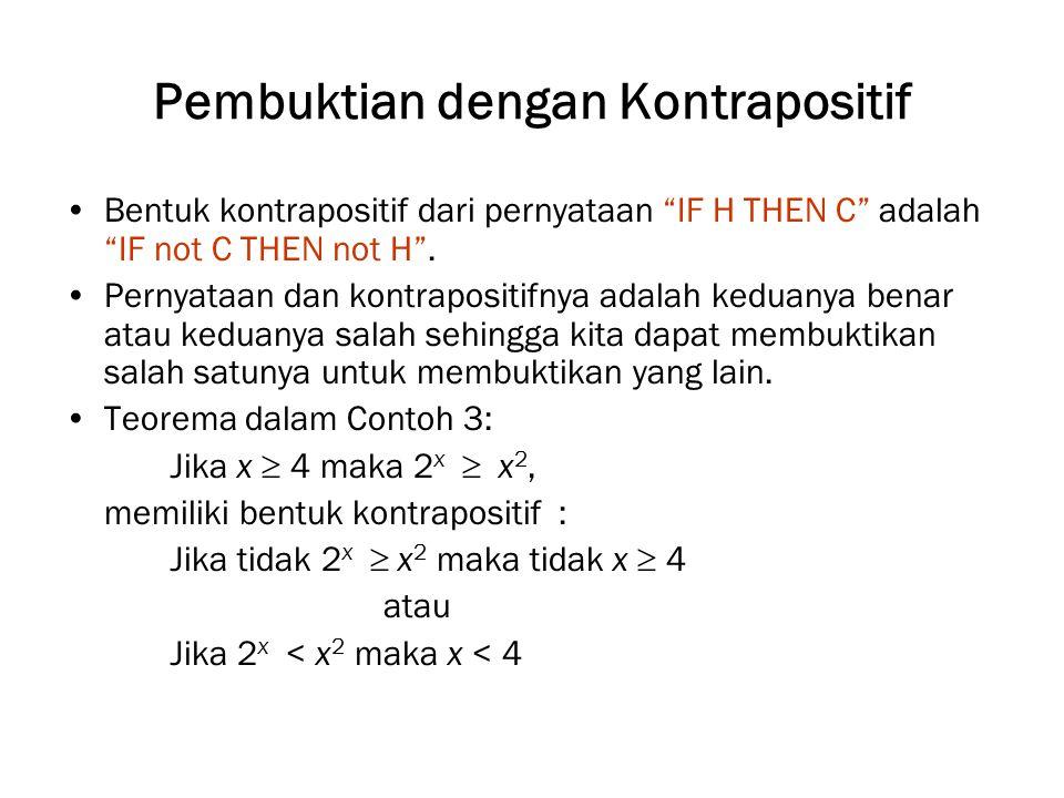 """Pembuktian dengan Kontrapositif Bentuk kontrapositif dari pernyataan """"IF H THEN C"""" adalah """"IF not C THEN not H"""". Pernyataan dan kontrapositifnya adala"""