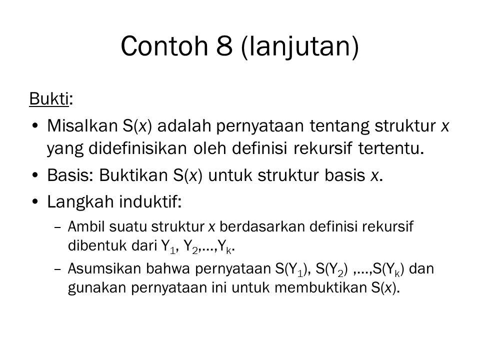 Contoh 8 (lanjutan) Bukti: Misalkan S(x) adalah pernyataan tentang struktur x yang didefinisikan oleh definisi rekursif tertentu. Basis: Buktikan S(x)