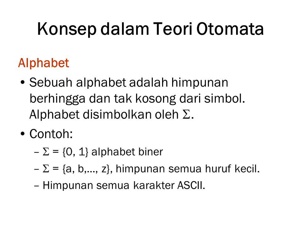 Konsep dalam Teori Otomata Alphabet Sebuah alphabet adalah himpunan berhingga dan tak kosong dari simbol. Alphabet disimbolkan oleh . Contoh: –  = {