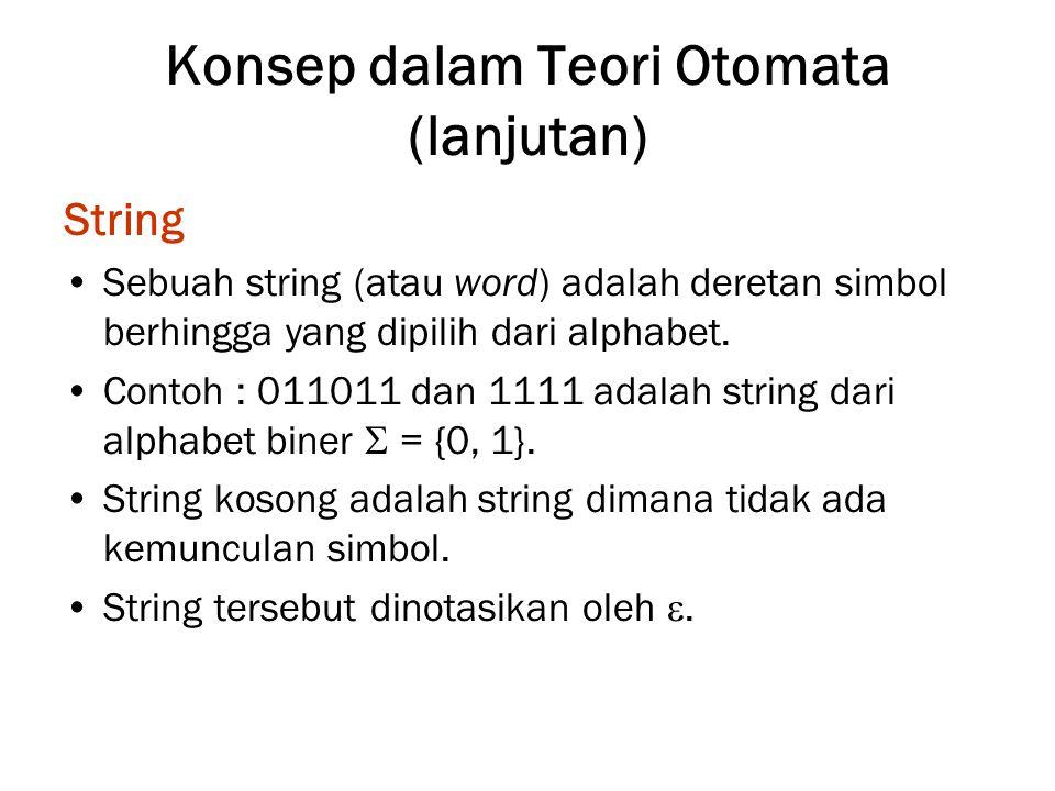 Konsep dalam Teori Otomata (lanjutan) String Sebuah string (atau word) adalah deretan simbol berhingga yang dipilih dari alphabet. Contoh : 011011 dan