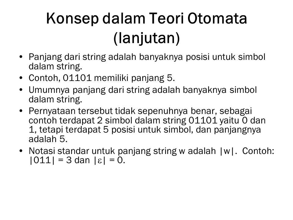 Konsep dalam Teori Otomata (lanjutan) Panjang dari string adalah banyaknya posisi untuk simbol dalam string. Contoh, 01101 memiliki panjang 5. Umumnya