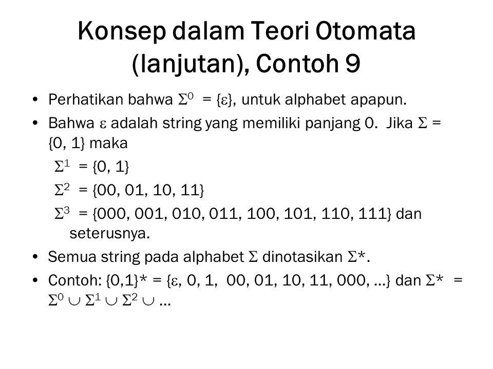 Konsep dalam Teori Otomata (lanjutan), Contoh 9 Perhatikan bahwa  0 = {  }, untuk alphabet apapun. Bahwa  adalah string yang memiliki panjang 0. Ji