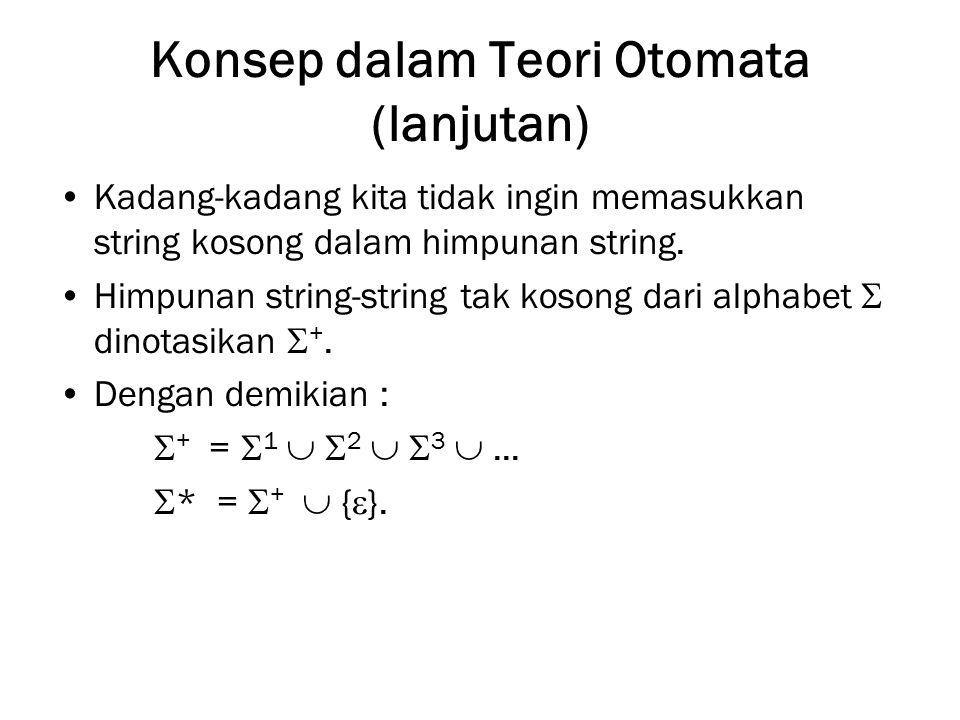 Konsep dalam Teori Otomata (lanjutan) Kadang-kadang kita tidak ingin memasukkan string kosong dalam himpunan string. Himpunan string-string tak kosong