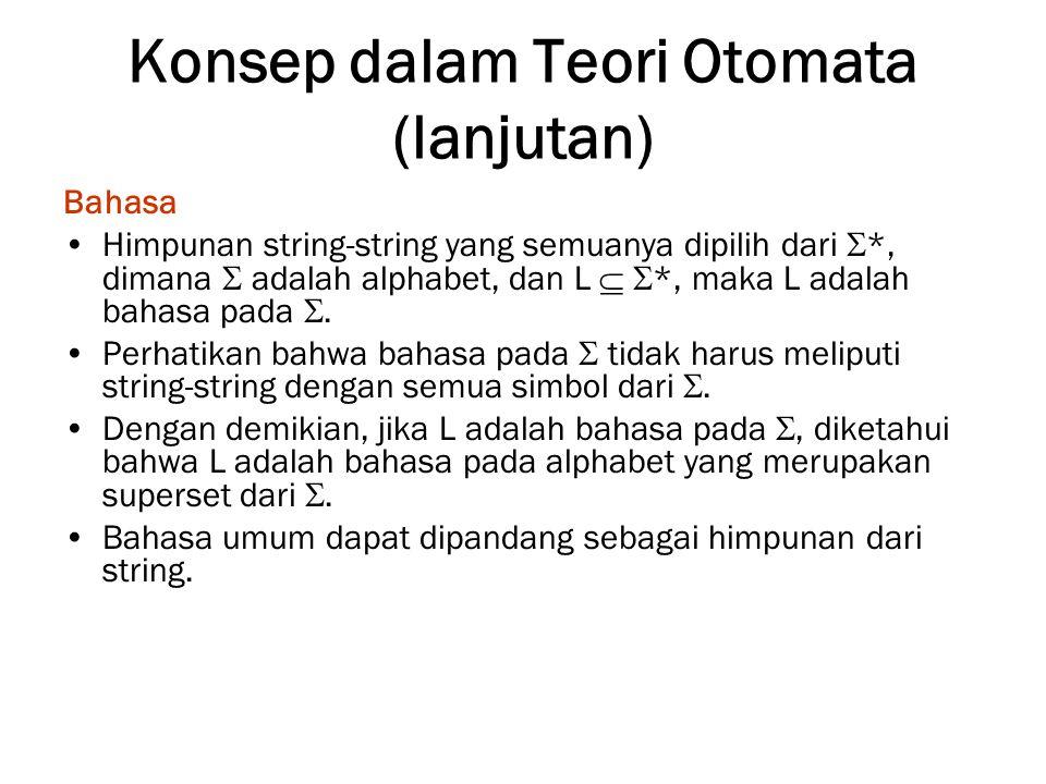 Konsep dalam Teori Otomata (lanjutan) Bahasa Himpunan string-string yang semuanya dipilih dari  *, dimana  adalah alphabet, dan L   *, maka L adal