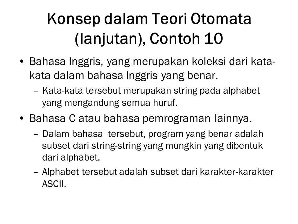 Konsep dalam Teori Otomata (lanjutan), Contoh 10 Bahasa Inggris, yang merupakan koleksi dari kata- kata dalam bahasa Inggris yang benar. –Kata-kata te