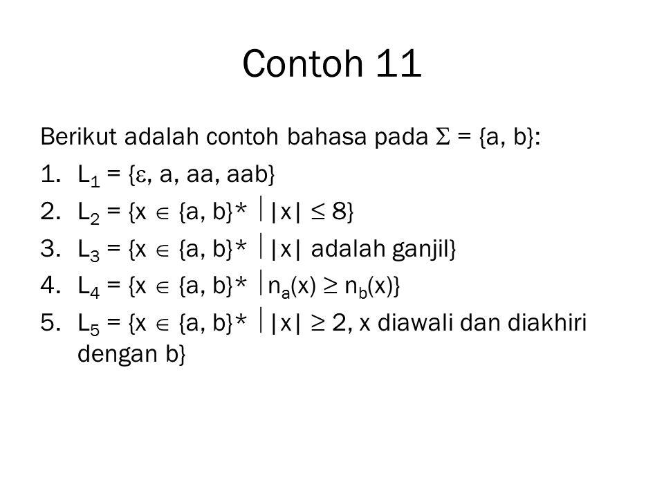 Contoh 11 Berikut adalah contoh bahasa pada  = {a, b}: 1.L 1 = { , a, aa, aab} 2.L 2 = {x  {a, b}*  |x| ≤ 8} 3.L 3 = {x  {a, b}*  |x| adalah gan
