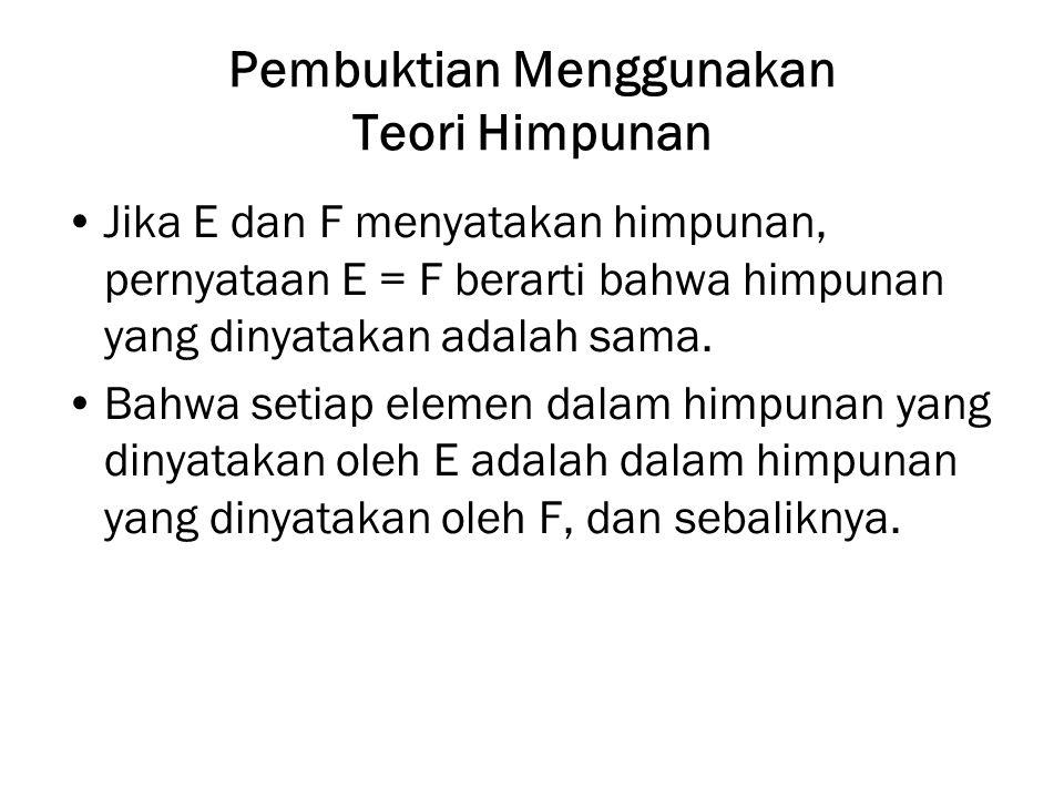 Pembuktian Menggunakan Teori Himpunan Jika E dan F menyatakan himpunan, pernyataan E = F berarti bahwa himpunan yang dinyatakan adalah sama. Bahwa set