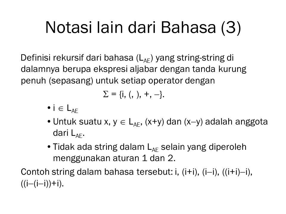 Notasi lain dari Bahasa (3) Definisi rekursif dari bahasa (L AE ) yang string-string di dalamnya berupa ekspresi aljabar dengan tanda kurung penuh (se