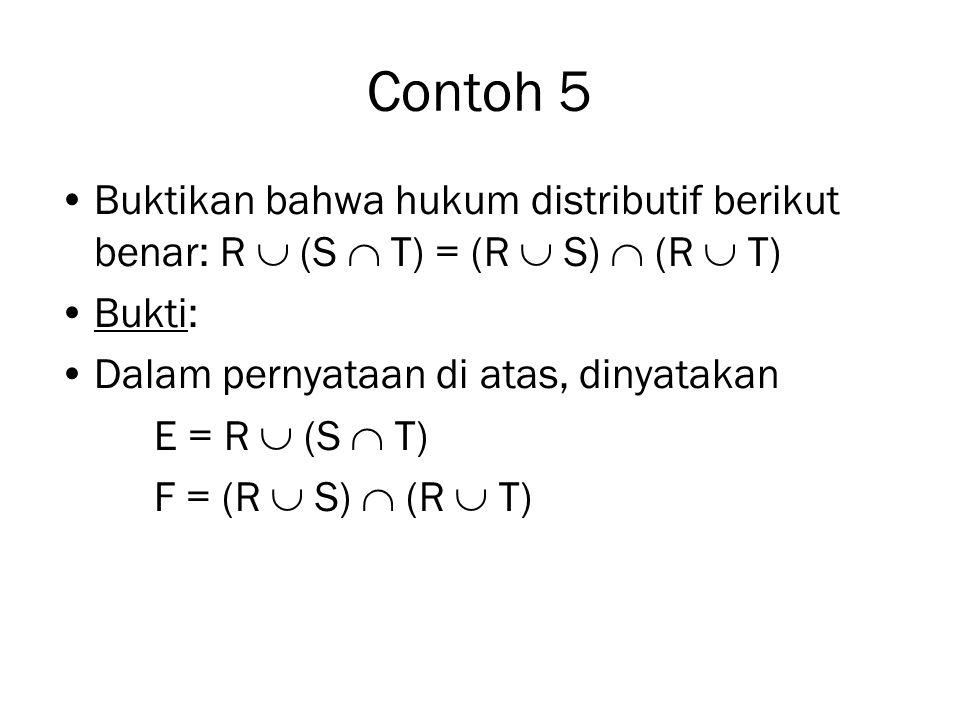 Contoh 5 (lanjutan) (  ) Jika x  E maka x  F LangkahPernyataanJustifikasi 1 x  R  (S  T) Diberikan (hipotesa) 2 x  R atau x  S  T (1) dan definisi union 3 x  R atau (x  S dan x  T) (2) dan definisi interseksi 4 x  (R  S) (3) dan definisi union 5 x  (R  T) (3) dan definisi union 6 x  (R  S)  (R  T) (4), (5), dan definisi interseksi