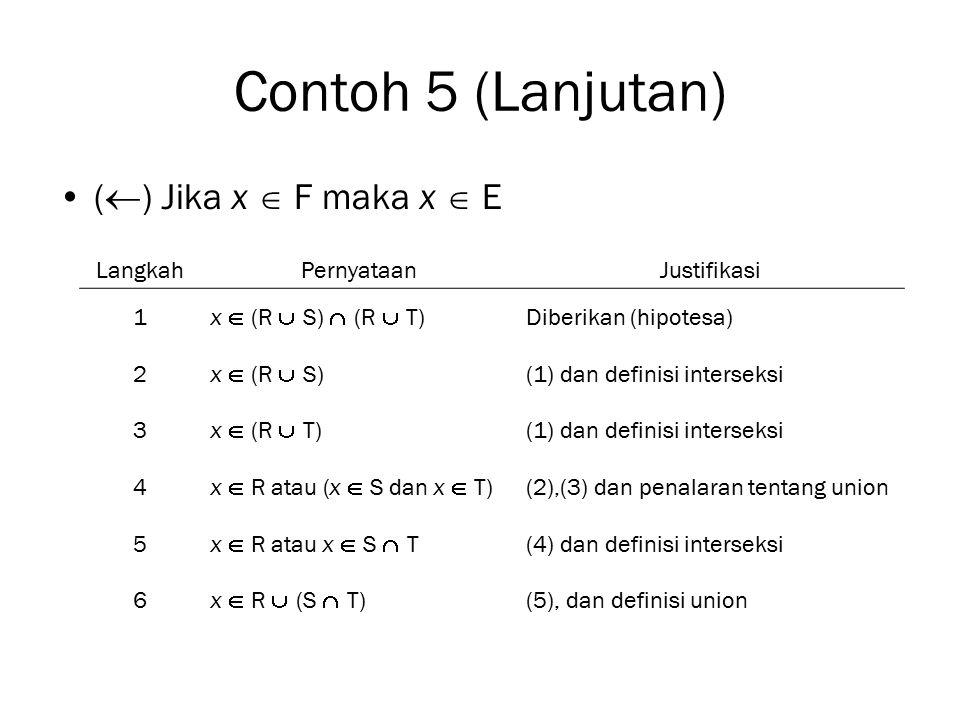 Contoh 5 (Lanjutan) (  ) Jika x  F maka x  E LangkahPernyataanJustifikasi 1 x  (R  S)  (R  T) Diberikan (hipotesa) 2 x  (R  S) (1) dan defini