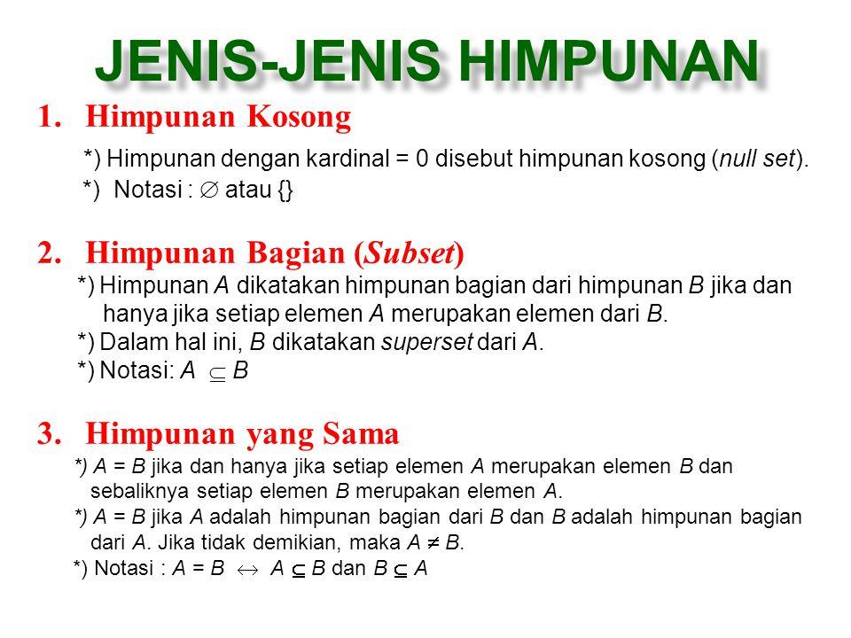 JENIS-JENIS HIMPUNAN 1.Himpunan Kosong *) Himpunan dengan kardinal = 0 disebut himpunan kosong (null set). *) Notasi :  atau {} 2.Himpunan Bagian (Su