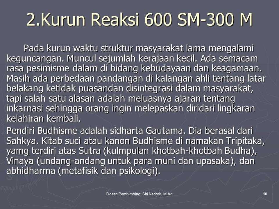 Dosen Pembimbing: Siti Nadroh, M.Ag10 2.Kurun Reaksi 600 SM-300 M Pada kurun waktu struktur masyarakat lama mengalami keguncangan.