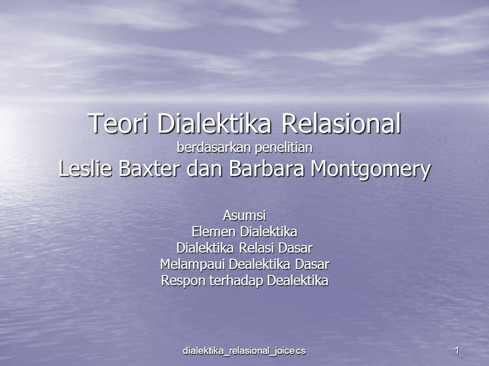 dialektika_relasional_joice cs 1 Teori Dialektika Relasional berdasarkan penelitian Leslie Baxter dan Barbara Montgomery Asumsi Elemen Dialektika Dial