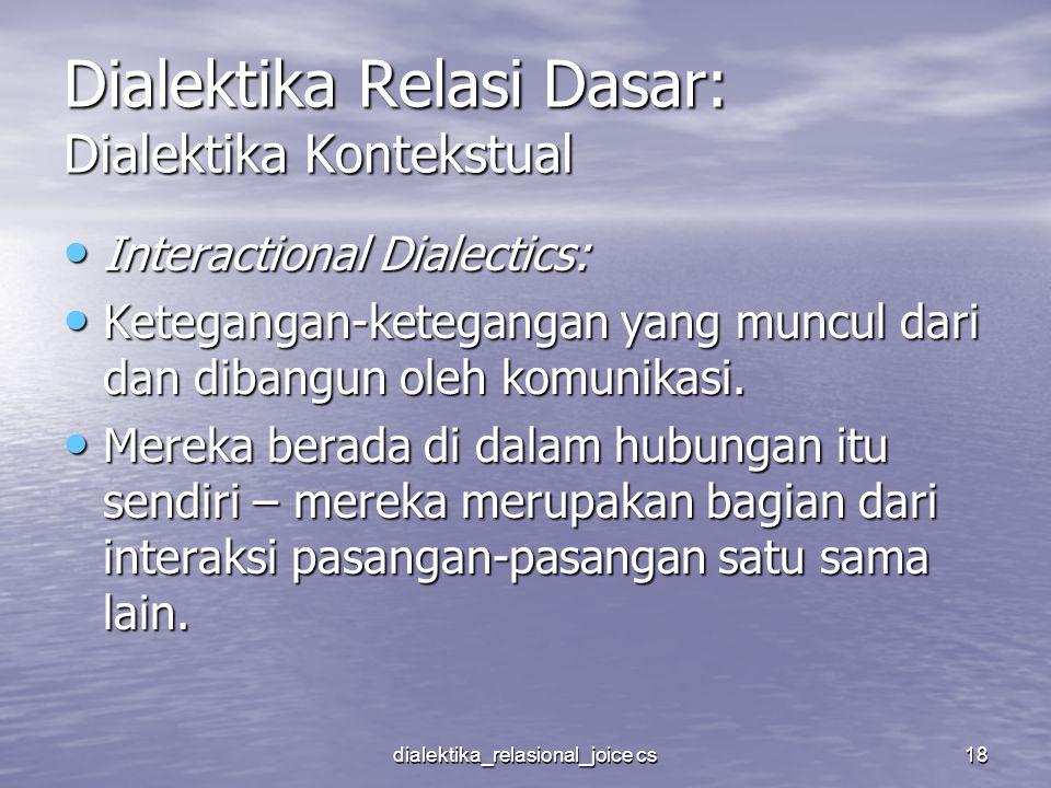 dialektika_relasional_joice cs18 Dialektika Relasi Dasar: Dialektika Kontekstual Interactional Dialectics: Interactional Dialectics: Ketegangan-ketega