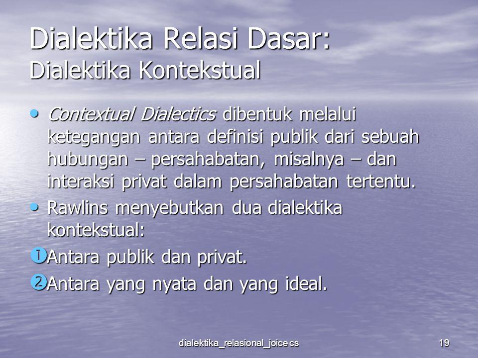 dialektika_relasional_joice cs19 Dialektika Relasi Dasar: Dialektika Kontekstual Contextual Dialectics dibentuk melalui ketegangan antara definisi pub