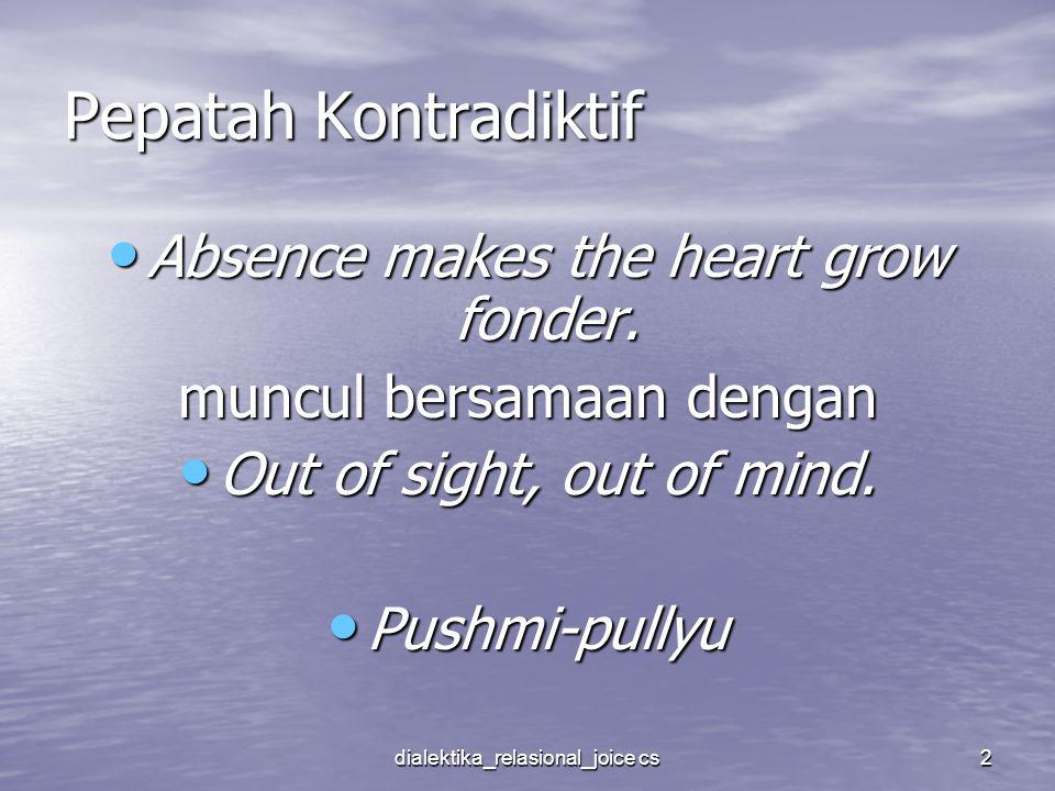 dialektika_relasional_joice cs2 Pepatah Kontradiktif Absence makes the heart grow fonder. Absence makes the heart grow fonder. muncul bersamaan dengan