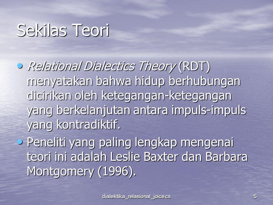 dialektika_relasional_joice cs5 Sekilas Teori Relational Dialectics Theory (RDT) menyatakan bahwa hidup berhubungan dicirikan oleh ketegangan-ketegang