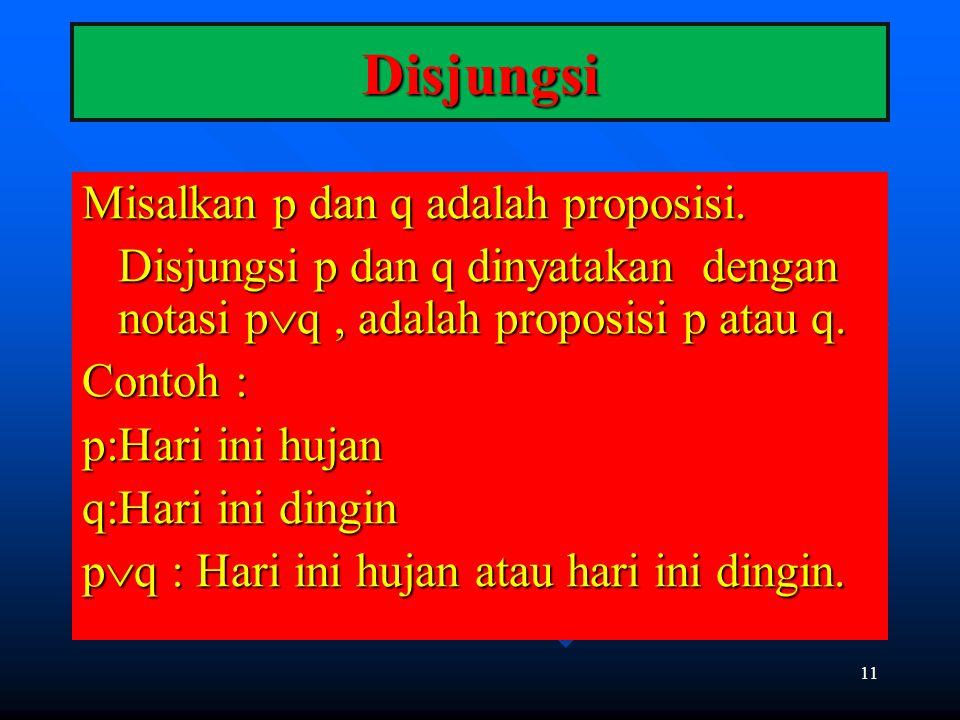 11 Disjungsi Misalkan p dan q adalah proposisi. Disjungsi p dan q dinyatakan dengan notasi p  q, adalah proposisi p atau q. Contoh : p:Hari ini hujan