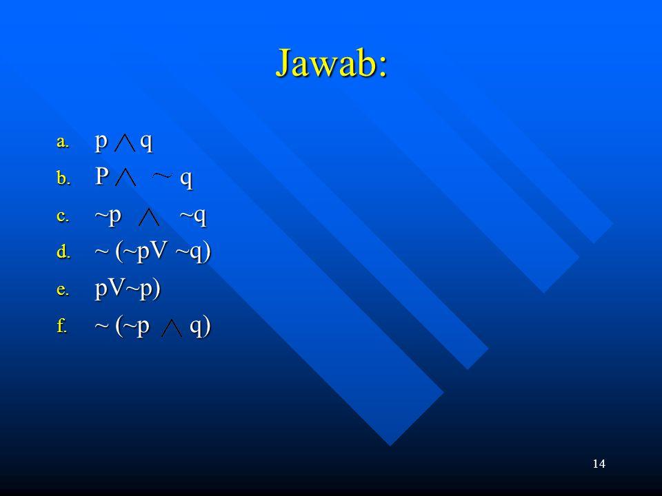 14 Jawab: a. p q b. P q c. ~p ~q d. ~ (~pV ~q) e. pV~p) f. ~ (~p q)
