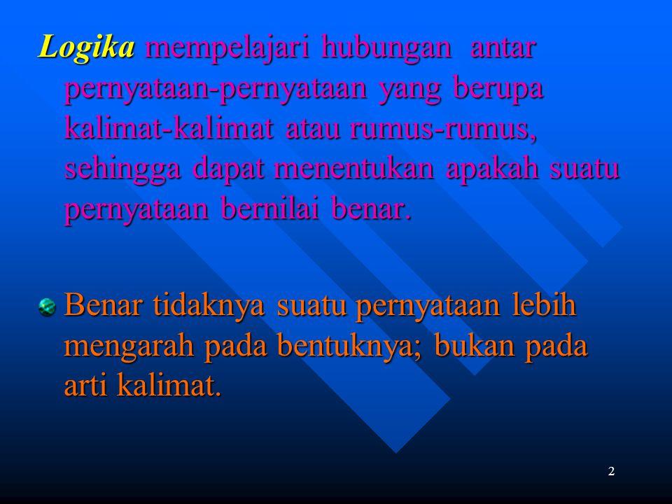 3 PROPOSISI Pernyataan yang mempunyai nilai benar atau salah saja yang digunakan dalam penalaran.