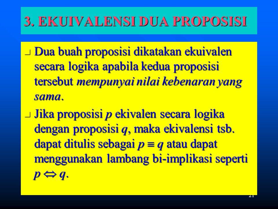 21 3. EKUIVALENSI DUA PROPOSISI Dua buah proposisi dikatakan ekuivalen secara logika apabila kedua proposisi tersebut mempunyai nilai kebenaran yang s
