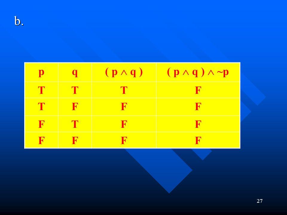 b. 27 pq ( p  q )( p  q )  ~p TTTF TFFF FTFF FFFF