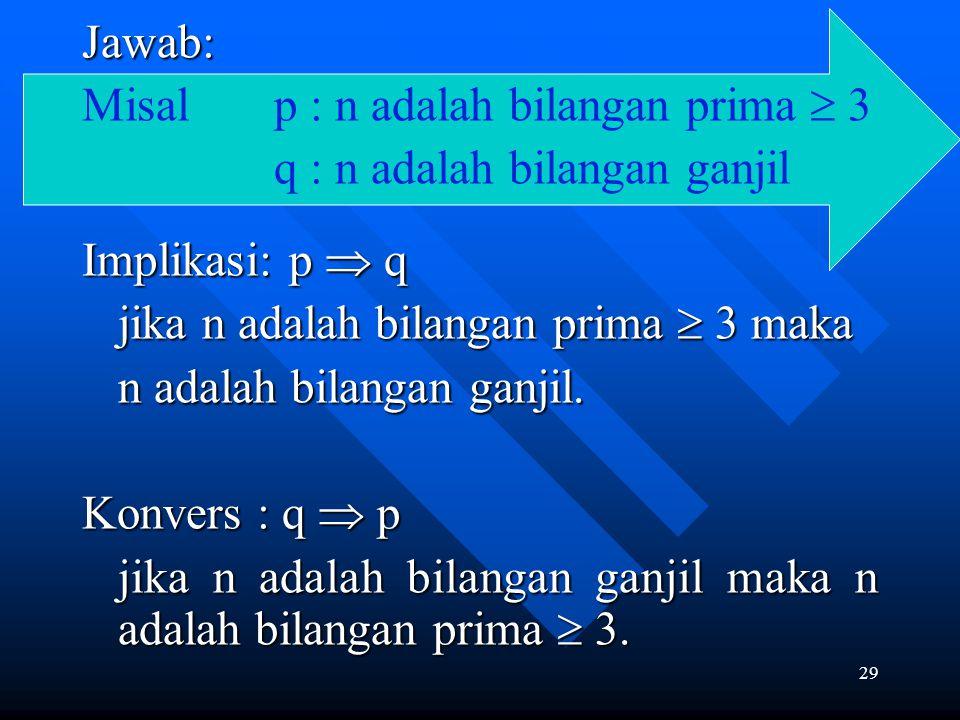 29 Jawab: Misal p : n adalah bilangan prima  3 q : n adalah bilangan ganjil Implikasi: p  q jika n adalah bilangan prima  3 maka jika n adalah bila