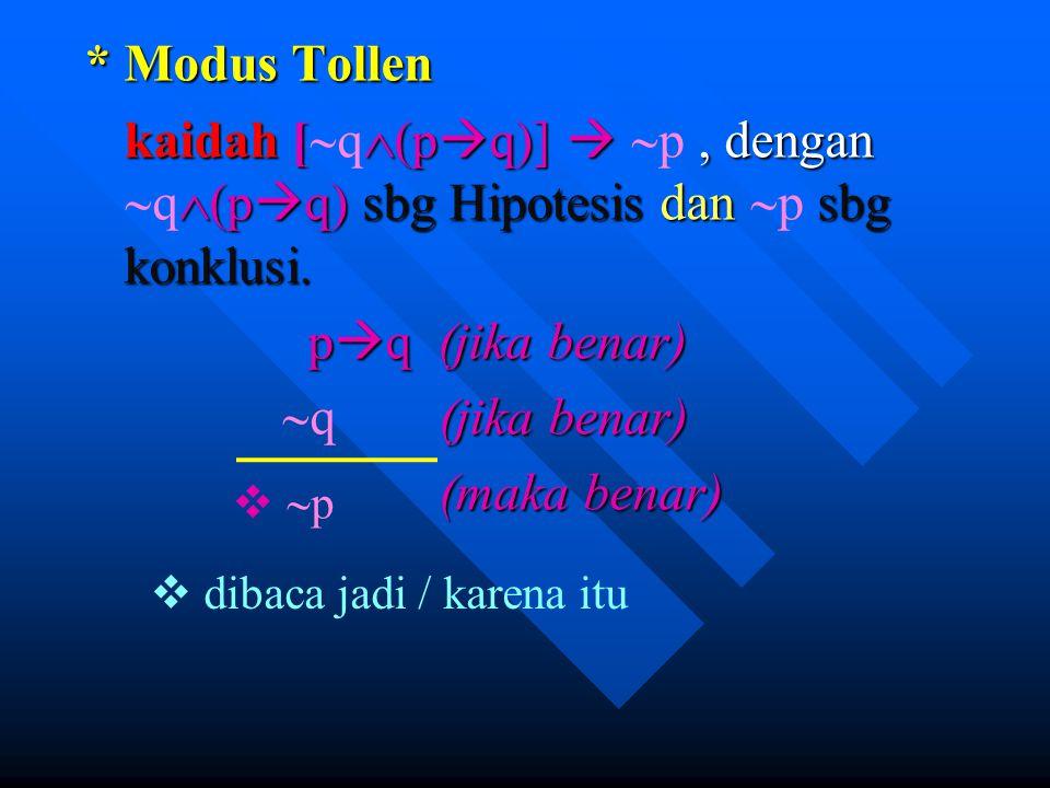 * Modus Tollen kaidah [  (p  q)] , dengan  (p  q) sbg Hipotesis dan sbg konklusi. kaidah [  q  (p  q)]   p, dengan  q  (p  q) sbg Hipotes
