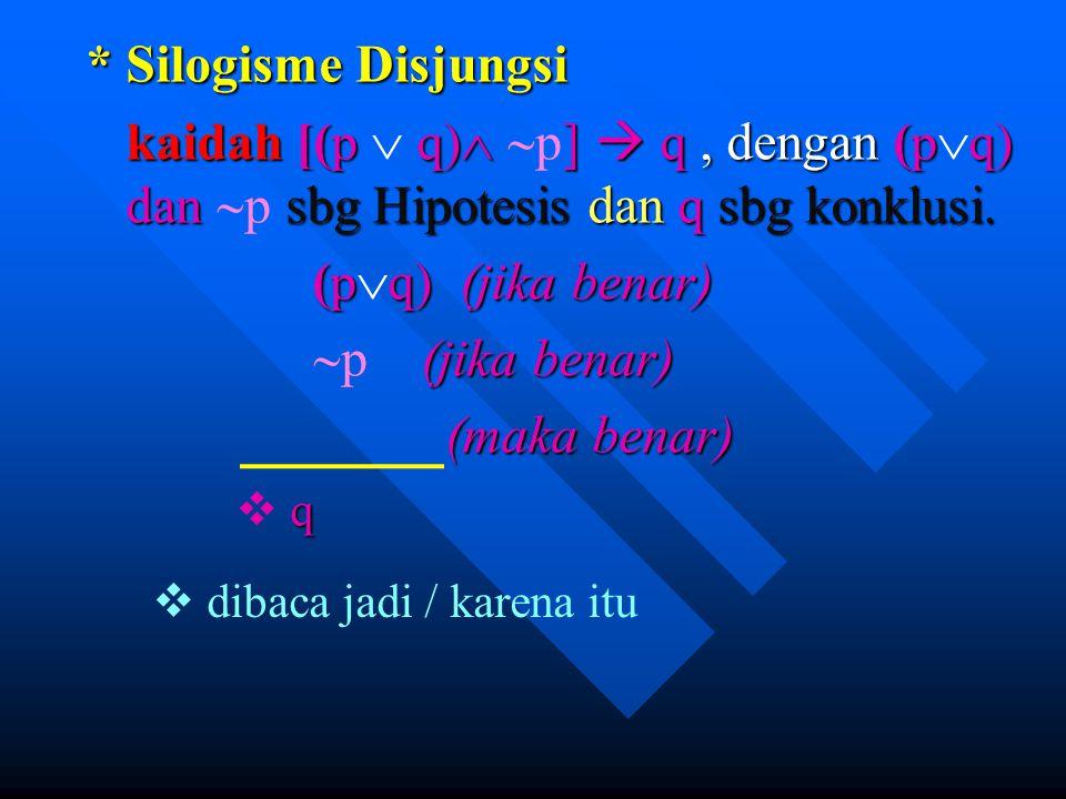 * Silogisme Disjungsi kaidah [(pq)  ]  q, dengan (pq) dan sbg Hipotesis dan q sbg konklusi. kaidah [(p  q)   p]  q, dengan (p  q) dan  p sbg H