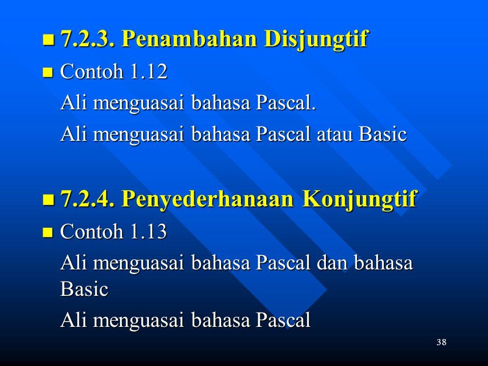 38 7.2.3. Penambahan Disjungtif 7.2.3. Penambahan Disjungtif Contoh 1.12 Contoh 1.12 Ali menguasai bahasa Pascal. Ali menguasai bahasa Pascal atau Bas