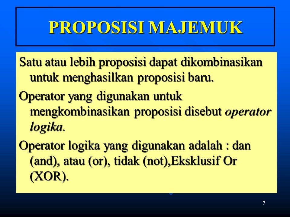 7 PROPOSISI MAJEMUK Satu atau lebih proposisi dapat dikombinasikan untuk menghasilkan proposisi baru. Operator yang digunakan untuk mengkombinasikan p