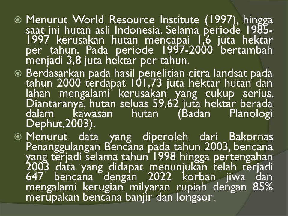 ANALISA LINGKUNGAN HIDUP  Indonesia mempunyai hutan tropis dunia sebesar 10 persen.  Sekitar 12% keadaan hutan di Indonesia yang merupakan bagian da