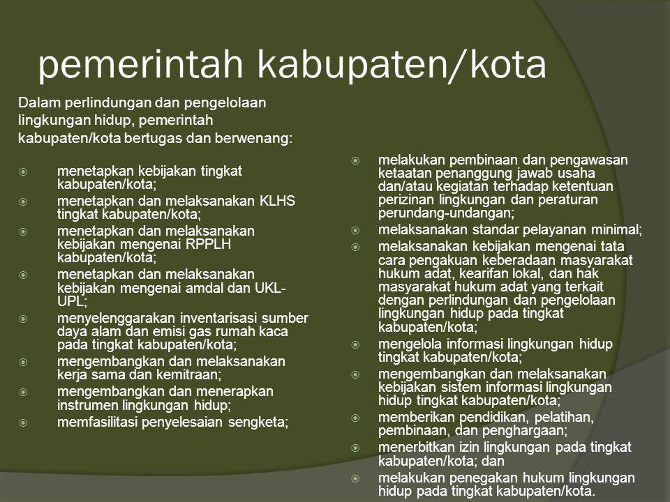 pemerintah provinsi  Dalam perlindungan dan pengelolaan lingkungan hidup, pemerintah provinsi bertugas dan berwenang: menetapkan kebijakan tingkat pr