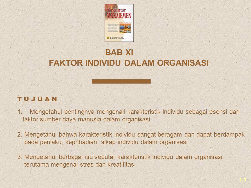 1-1 FAKTOR INDIVIDU DALAM ORGANISASI BAB XI 1.Mengetahui pentingnya mengenali karakteristik individu sebagai esensi dari faktor sumber daya manusia dalam organisasi 2.