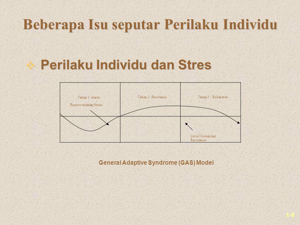 1-9 Beberapa Isu seputar Perilaku Individu v Perilaku Individu dan Stres Tahap 1: Alarm Tahap 2 : ResistanceTahap 3 : Exhaustion Respon terhadap Stress Level Normal dari Resistance General Adaptive Syndrome (GAS) Model