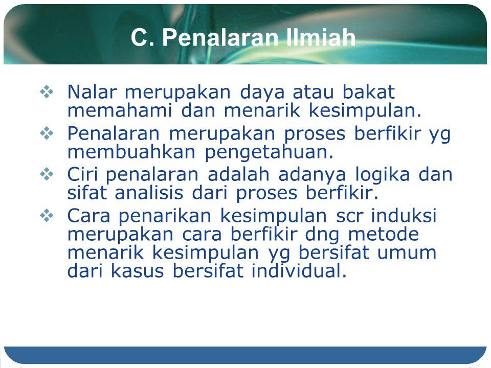 C. Penalaran Ilmiah  Nalar merupakan daya atau bakat memahami dan menarik kesimpulan.  Penalaran merupakan proses berfikir yg membuahkan pengetahuan