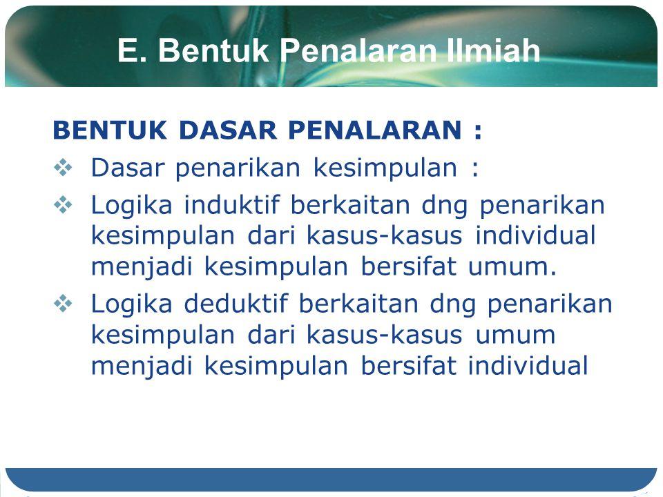 E. Bentuk Penalaran Ilmiah BENTUK DASAR PENALARAN :  Dasar penarikan kesimpulan :  Logika induktif berkaitan dng penarikan kesimpulan dari kasus-kas