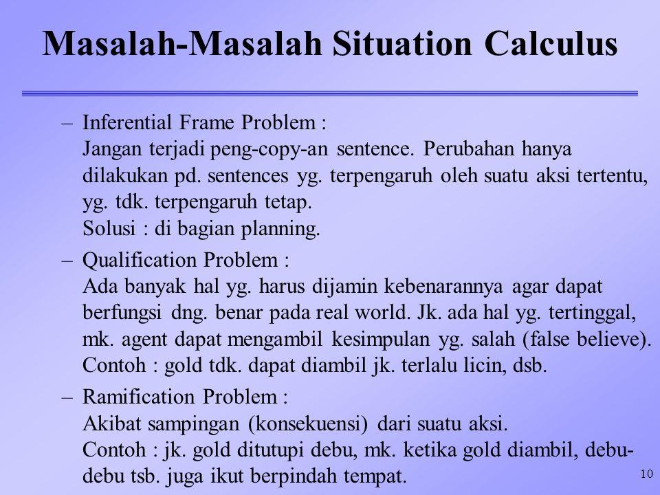 10 Masalah-Masalah Situation Calculus –Inferential Frame Problem : Jangan terjadi peng-copy-an sentence. Perubahan hanya dilakukan pd. sentences yg. t