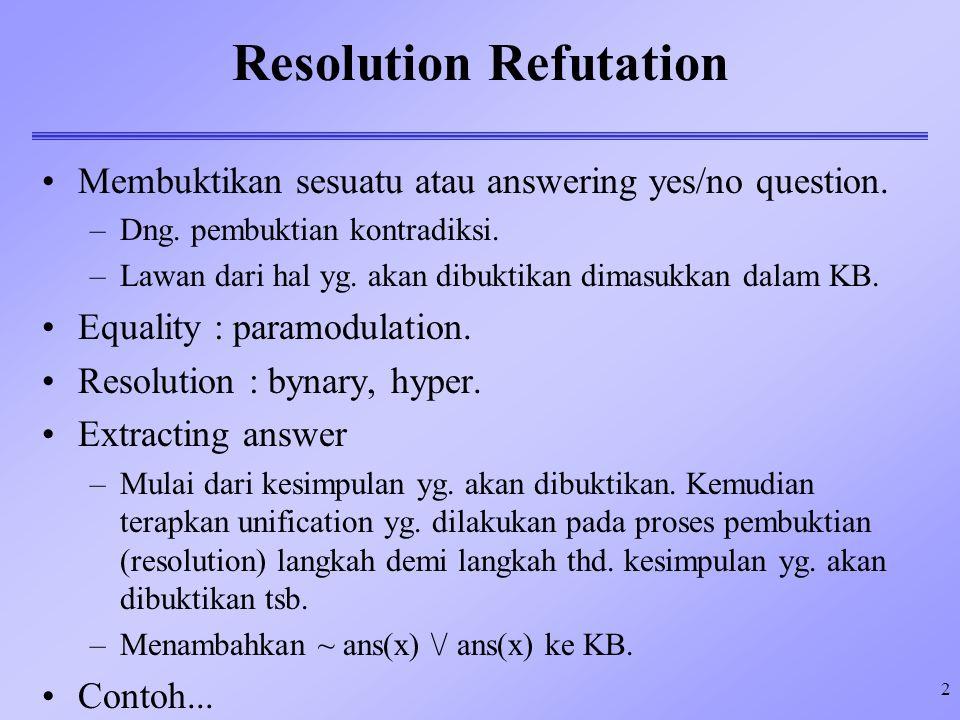 2 Resolution Refutation Membuktikan sesuatu atau answering yes/no question. –Dng. pembuktian kontradiksi. –Lawan dari hal yg. akan dibuktikan dimasukk