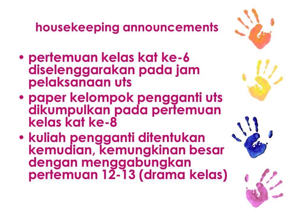 housekeeping announcements pertemuan kelas kat ke-6 diselenggarakan pada jam pelaksanaan uts paper kelompok pengganti uts dikumpulkan pada pertemuan k