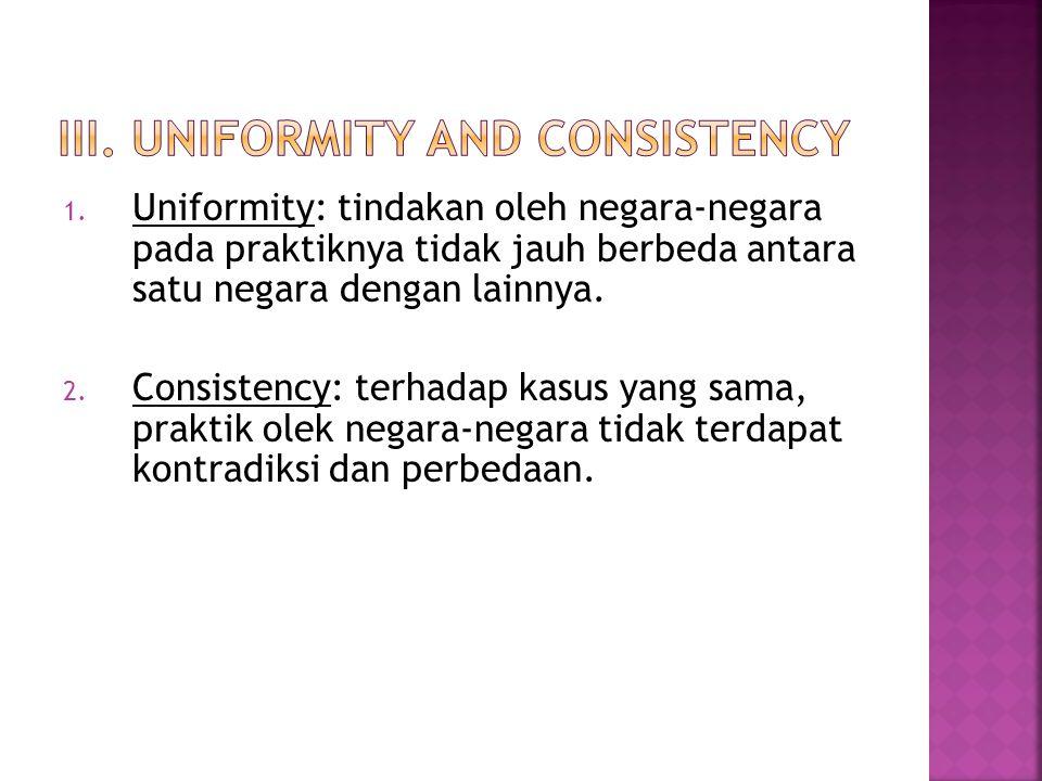 1. Uniformity: tindakan oleh negara-negara pada praktiknya tidak jauh berbeda antara satu negara dengan lainnya. 2. Consistency: terhadap kasus yang s